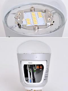 従来型のLED電球のカットモデル:LEDモジュールは中央に集約され
